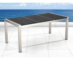 Table de jardin acier inox - plateau granit triple 180 cm noir flambé - Grosseto