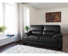Canapé 2 places - Canapé en cuir - Canapé noir - Vogar
