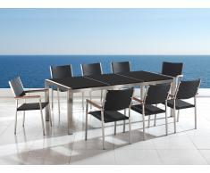Table de jardin acier inox - plateau granit triple noir poli 220 cm avec 8 chaises en rotin - Grosseto