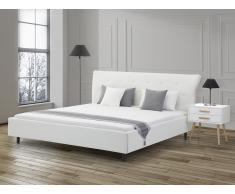 Lit design en cuir - lit double 160x200 cm - blanc - sommier inclus - Saverne