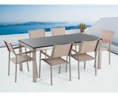 Table de jardin acier inox - plateau simple en granit noir poli 180 cm avec 6 chaises en textile beige - Grosseto