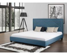 Lit en tissu - lit double 180x200 cm - sommier inclus - Marseille - bleu foncé