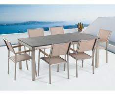 Table de jardin acier inox - plateau simple en granit noir 180 cm avec 6 chaises en textile beige - Grosseto