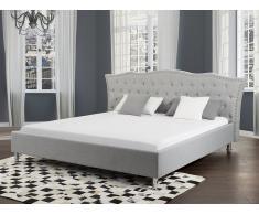 Lit design en tissu - lit double 180x200 cm - Metz - sommier avec rangement inclus - gris
