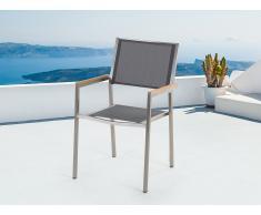 Chaise de jardin - acier inox et textile gris - Grosseto