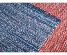 Tapis rectangulaire en coton - en tons rouges - 140x200 cm - bariolé - Besni