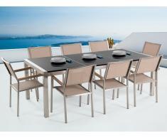 Table de jardin acier inox - plateau granit triple noir poli 220 cm avec 8 chaises en textile beige - Grosseto