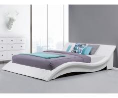 Lit design en cuir - lit double 180x200 cm - sommier inclus - Vichy - blanc
