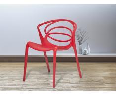 Chaise de jardin design - siège en plastique rouge - Bend