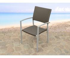 Chaise de jardin - aluminium et rotin - Torino