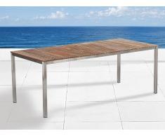 Table de jardin acier inox - plateau teck 200 cm - Viareggio