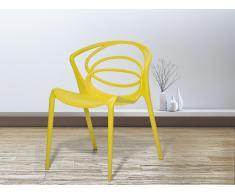 Chaise de jardin design - siège en plastique jaune - Bend