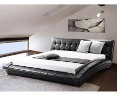 Lit design en cuir - lit double 160x200 cm - noir - sommier inclus - Lille
