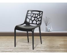 Chaise de jardin - Chaise en plastique noir - Morgan