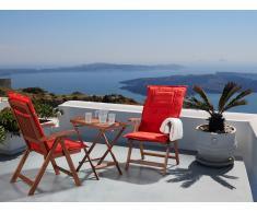 Table et 2 chaises de jardin en bois avec coussins terracotta clair - Toscana