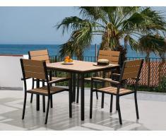 Ensemble de jardin - Table et chaises - Aluminium et polywood - Prato