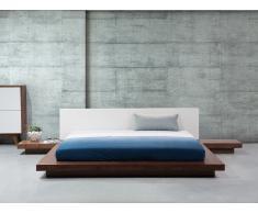 Lit design 180x200 cm - cadre avec chevets intégrés en bois - marron clair - Zen