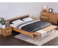 Lit design en bois - lit double 180x200 cm - brun - sommier inclus - Carris