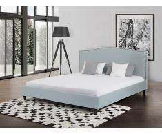 Lit en tissu - lit double 140x200 cm - bleu clair - sommier inclus - Montpellier
