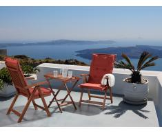 Table et 2 chaises de jardin en bois avec coussins terracotta - Toscana