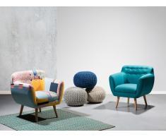 Fauteuil de salon - fauteuil en tissu bleu marine - Melby