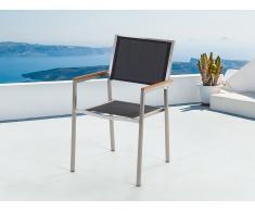 Chaise de jardin - acier inox et textile noir - Grosseto