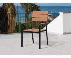 Chaise de jardin - Chaise - Aluminium et Polywood - Marron - Como