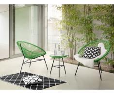Table et 2 fauteuils de jardin 'Spaghetti' - cordage vert - Acapulco