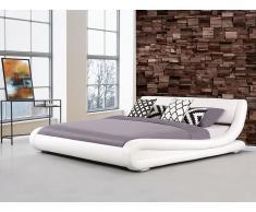 Lit design en cuir - lit double blanc - 160x200 cm - sommier inclus - Avignon