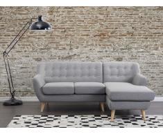 Canapé d angle - canapé en tissu gris clair - Motala