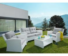 Ensemble de jardin en rotin - Set de terrasse blanc - Mobilier de jardin - San Marino