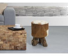 Tabouret - brun - siège - chaise - teck et peau d´agneau - Kent