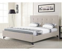 Lit en tissu - lit double 140x200 cm - beige - sommier inclus - Ambassador
