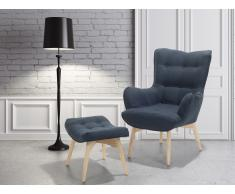 Fauteuil en tissu - Fauteuil tapissé bleu foncé - Repose-pieds - Vejle