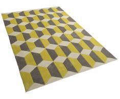 Tapis rectangulaire polyester - 80x150 cm - jaune gris - Antalya