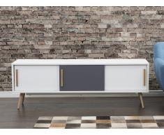 Meuble TV - meuble de rangement - blanc / gris - Indiana