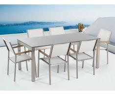 Table de jardin acier inox - plateau simple en granit gris poli 180 cm avec 6 chaises en textile blanc - Grosseto