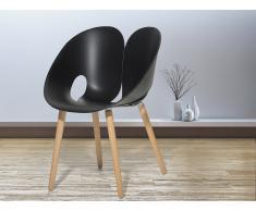 Chaise design - siège en plastique noir - Memphis