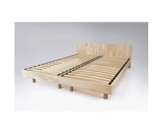 Lit Twin bois massif - Couleur - Brut, Dimensions - 80x200