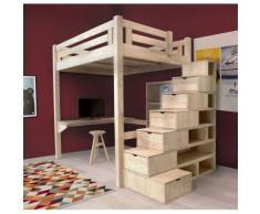 Lit Mezzanine Alpage + Escalier cube + Bureau + Etagère murale + Bibliothèque