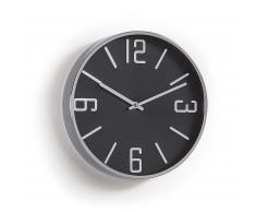 Horloge murale Steep noir cadre métal argenté