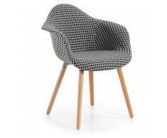 Chaise avec accoudoirs Kevya, noir et blanc