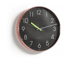Horloge murale Saanvi noir cadre cuivré