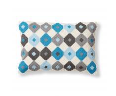 Coussin Tepec, gris et bleu