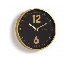 Horloge murale Mentha noir cadre métal doré