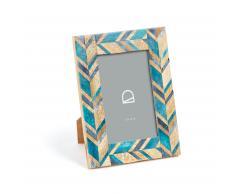 Cadre photo Doala 16x21 cm bois décor os bleu et turquoise