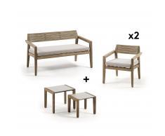 Pack Clodie banquette avec fauteuil et tables auxiliaires