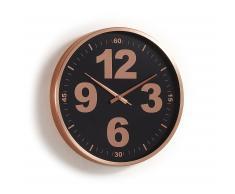 Horloge murale Mentha noir cadre métal cuivré