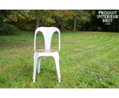 Chaise industrielle Multipl's blanche - bois