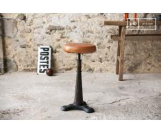 Tabouret industriel de tailleur avec assise cuir